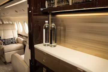 Business VIP jet aircraft luxury cabin interior