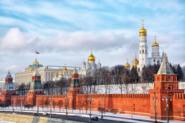 View on Moscow Kremlin in winter, Russia