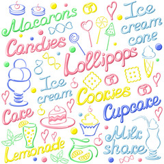 Card with vector colorful pastry elements. On white background. EPS10