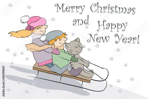 vector cartoon illustration christmas and happy new year card