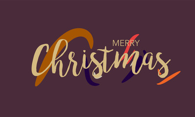 Merry Christmas Lettering Design . Happy New Year. Black and gold colors. Christmas series