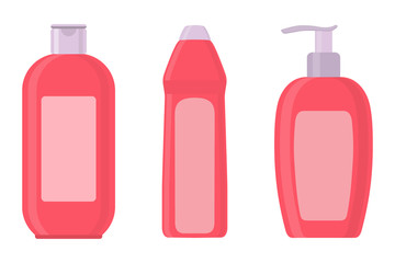 Set of cosmetic bottles in flat style. Soap, shampoo, lotion pink bottles. Vector illustration.