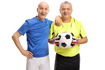 Old footballer with an old goalkeeper