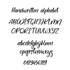 Exclusive Custom Alphabet. Handwritten font. Modern calligraphy. Vector ABC.