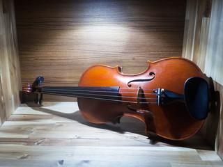 The violin,string instrument put on wood board ,vintage tone