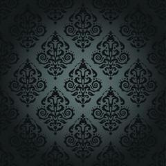 Dark Gray Damask Background - Seamless Pattern