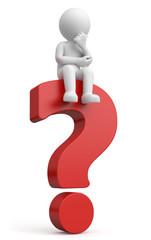 3d Männchen denkt nach rotes Fragezeichen