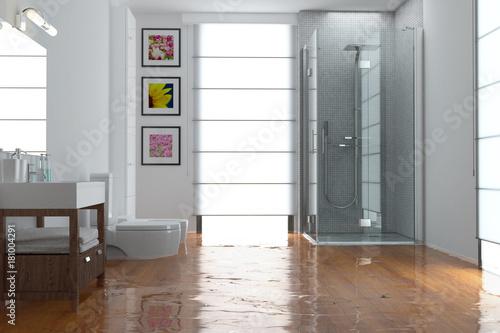 berschwemmung nach wasserschaden im bad stockfotos und. Black Bedroom Furniture Sets. Home Design Ideas