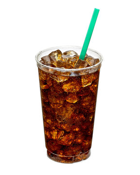 Cola glass with crushed ice in large or big takeaway disposable cup isolated on white background