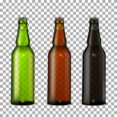 Beer bottles set.