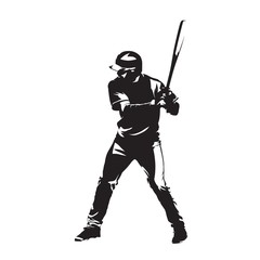 Baseball player with bat waiting for ball, abstract vector silhouette. Batter, team sport