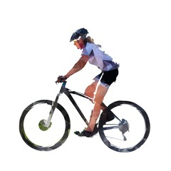 Woman riding mountain bike, low poly isolated vector illustration. Mountain bike cycling