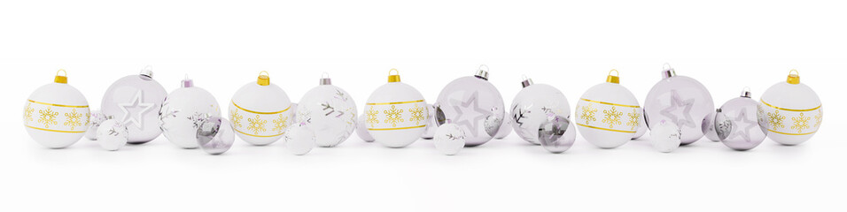 Gold and white christmas baubles lined up 3D rendering