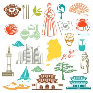 Korea seamless pattern. Korean traditional symbols and objects