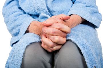Tired elderly hands
