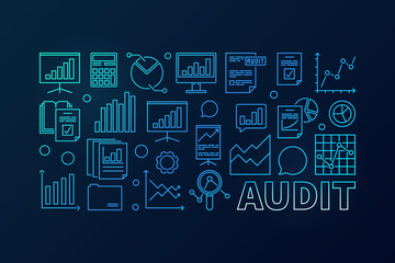 Audit concept blue business illustration