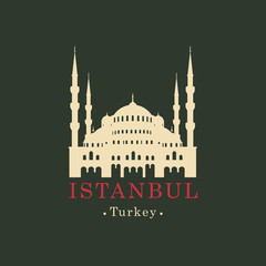 Vector travel banner. Mosque, the Museum Hagia Sophia in Istanbul, Turkey. Turkish landmark