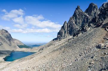 Alpine lake in Dientes de Navarino in Chile, Patagonia