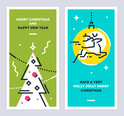 Christmas and New Year linear cards set with christmas tree and running deer. Set of xmas thin line design templates for print or web. Vector illustration.