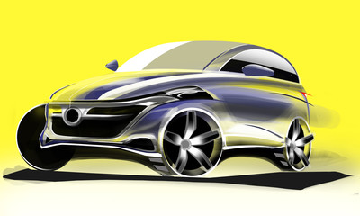 Design extorior dynamics sport car with drawing brush colour painting. Vehicle with air lights lines and in the luxorious curves..
