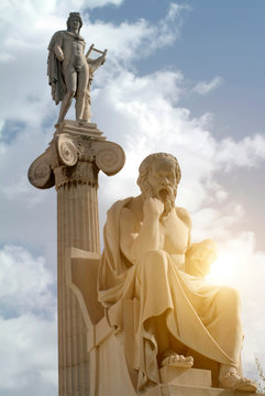 Statues of Apollo and Socrates, Academy of Athens, Athens, Attiki, Greece, Europe