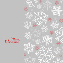 Pattern with snowflakes with Merry Christmas text Winter background for New Year for invitations of banner template Vector
