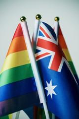 australian and rainbow flags