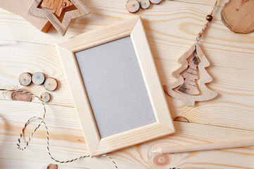 Wooden frame Christmas mockup, stock photography. Design works presentations, for bloggers and social media
