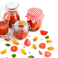 tomato juice, ketchup and tomato isolated on white background