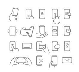 Modern smartphones vector icons. Linear pictograms collection