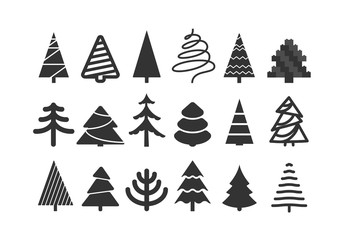 Different christmas tree silhouettes isolated on white. Xmas tree set