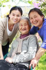 happy three generation family portrait
