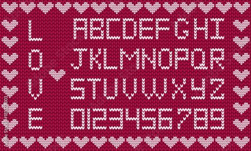 Valentines Day Or Wedding Knitting Alphabet On Burgundy Fabric