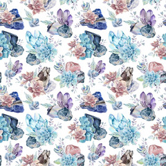 Watercolor gemstones and succulents seamless pattern.