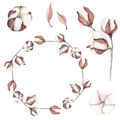 Watercolor cotton branch flower print decoration.