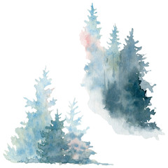 Artwork. Background painted with watercolor. Wild nature, frozen, misty, taiga.