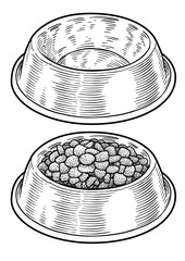 Dog, cat food in bowl illustration, drawing, engraving, ink, line art, vector