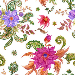 Seamless pattern from flowers and paisley, watercolor drawing.