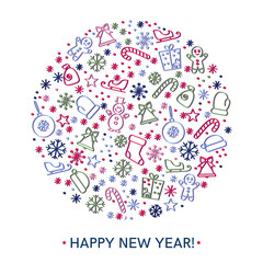 Happy new year greeting cards design
