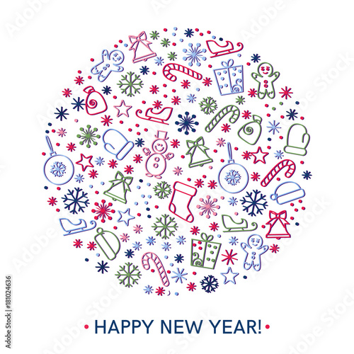 Happy new year greeting cards design\