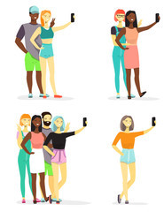 Young diversity people taking selfie vector flat Illustration