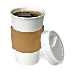 Coffee in takeaway cup on white background including clipping path