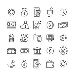 Simple set of money related outline icons.
