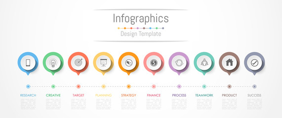 Infographic design elements for your business data with 10 options, parts, steps, timelines or processes. Vector Illustration. Wall mural