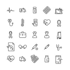 Simple set of health related outline icons.