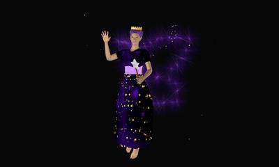 Lila fee mit Zauberstab und leuchtenden Flügeln auf schwarzem Hintergrund.