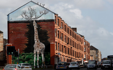 A giraffe mural is seen on the gable end of a building in Shettleston Road in Glasgow East, in Glasgow