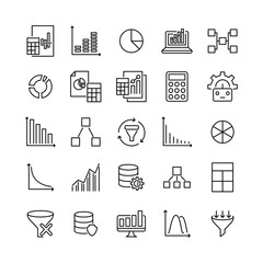 Simple collection of data analytics related line icons.