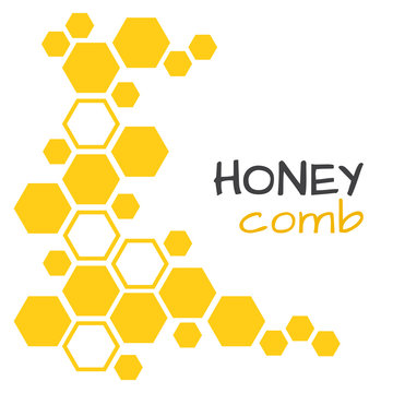 Abstract background with yellow honeycomb. Vector illustration
