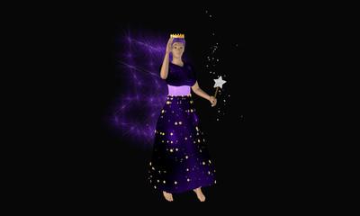 Winkende lila fee mit Zauberstab und leuchtenden Flügeln auf schwarzem Hintergrund.